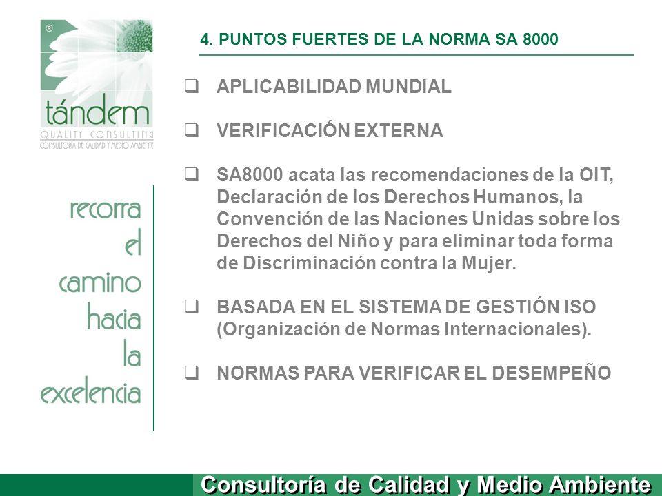 Consultoría de Calidad y Medio Ambiente 4. PUNTOS FUERTES DE LA NORMA SA 8000 APLICABILIDAD MUNDIAL VERIFICACIÓN EXTERNA SA8000 acata las recomendacio
