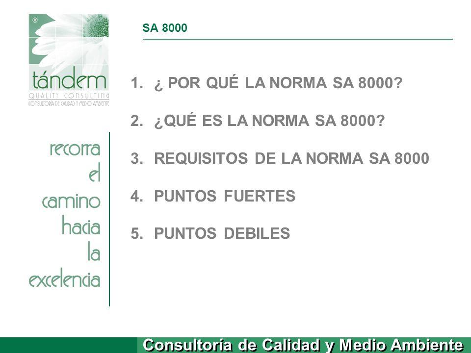 Consultoría de Calidad y Medio Ambiente SA 8000 1.¿ POR QUÉ LA NORMA SA 8000? 2.¿QUÉ ES LA NORMA SA 8000? 3.REQUISITOS DE LA NORMA SA 8000 4.PUNTOS FU