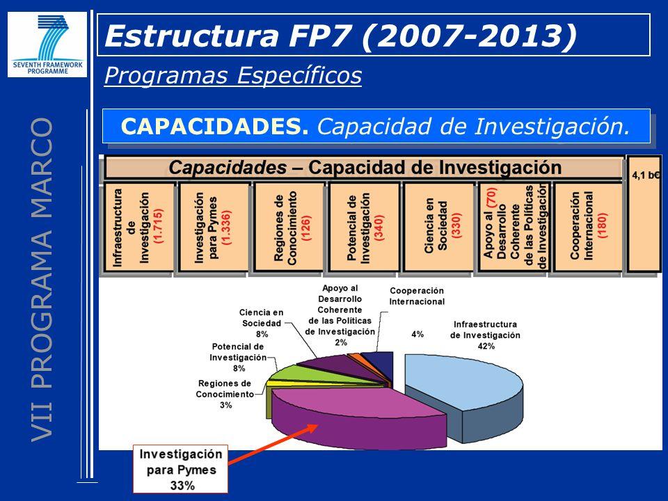 VII PROGRAMA MARCO Estructura FP7 (2007-2013) Programas Específicos CAPACIDADES. Capacidad de Investigación.