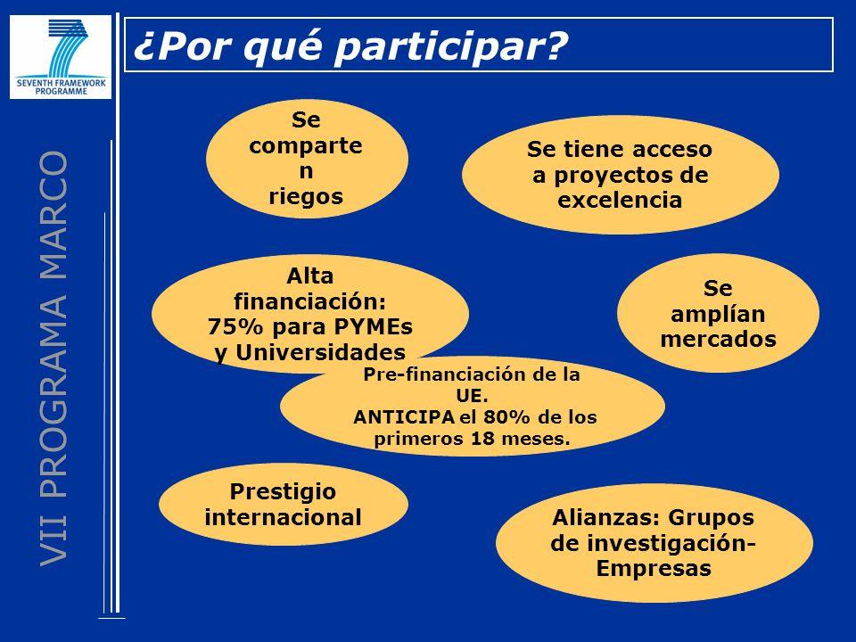 VII PROGRAMA MARCO ¿Por qué participar? Se comparte n riegos Se amplían mercados Se tiene acceso a proyectos de excelencia Alta financiación: 75% para