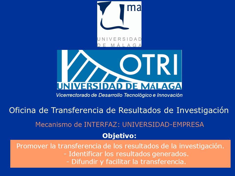 Vicerrectorado de Desarrollo Tecnológico e Innovación Oficina de Transferencia de Resultados de Investigación Mecanismo de INTERFAZ: UNIVERSIDAD-EMPRESA Promover la transferencia de los resultados de la investigación.