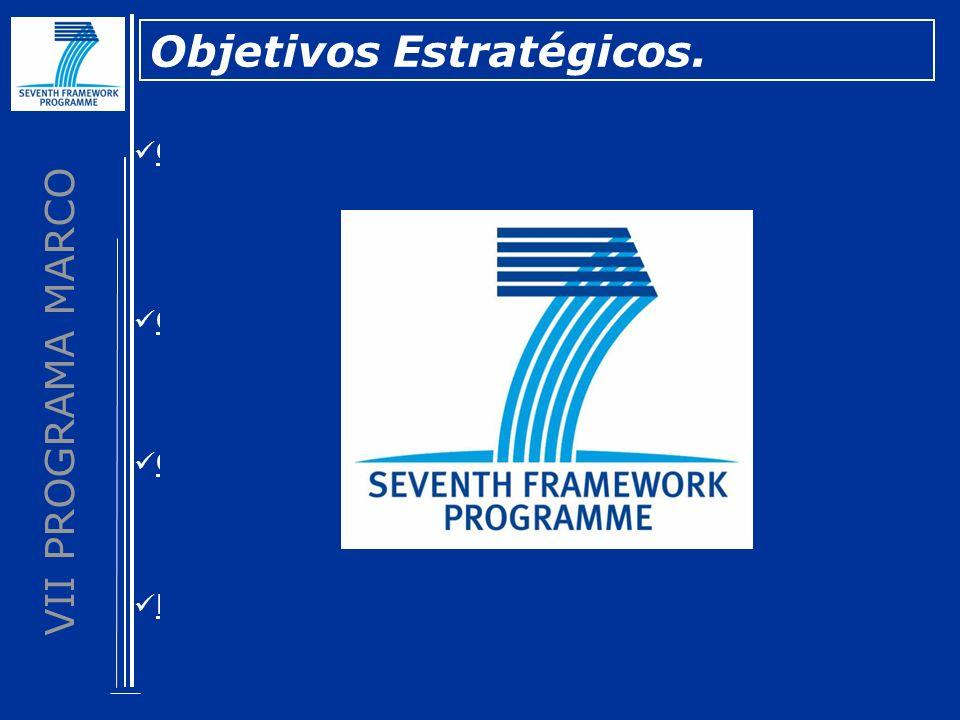 VII PROGRAMA MARCO Objetivo de Lisboa: Objetivos Estratégicos. Compromiso de Barcelona: Consolidar el Espacio Europeo de Investigación: Fortalecer la