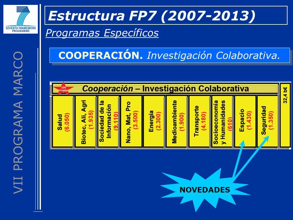 VII PROGRAMA MARCO Estructura FP7 (2007-2013) Programas Específicos COOPERACIÓN. Investigación Colaborativa. NOVEDADES
