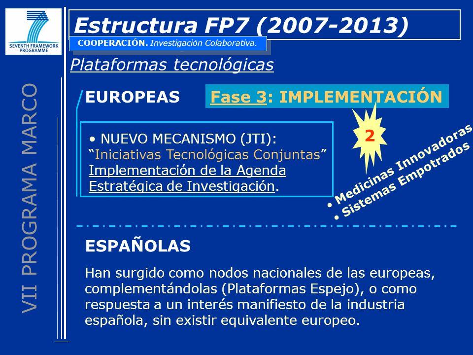 VII PROGRAMA MARCO Estructura FP7 (2007-2013) Plataformas tecnológicas EUROPEASFase 3: IMPLEMENTACIÓN NUEVO MECANISMO (JTI): Iniciativas Tecnológicas Conjuntas Implementación de la Agenda Estratégica de Investigación.
