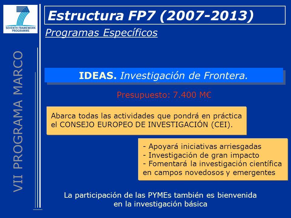 VII PROGRAMA MARCO Programas Específicos Estructura FP7 (2007-2013) IDEAS. Investigación de Frontera. Presupuesto: 7.400 M - Apoyará iniciativas arrie