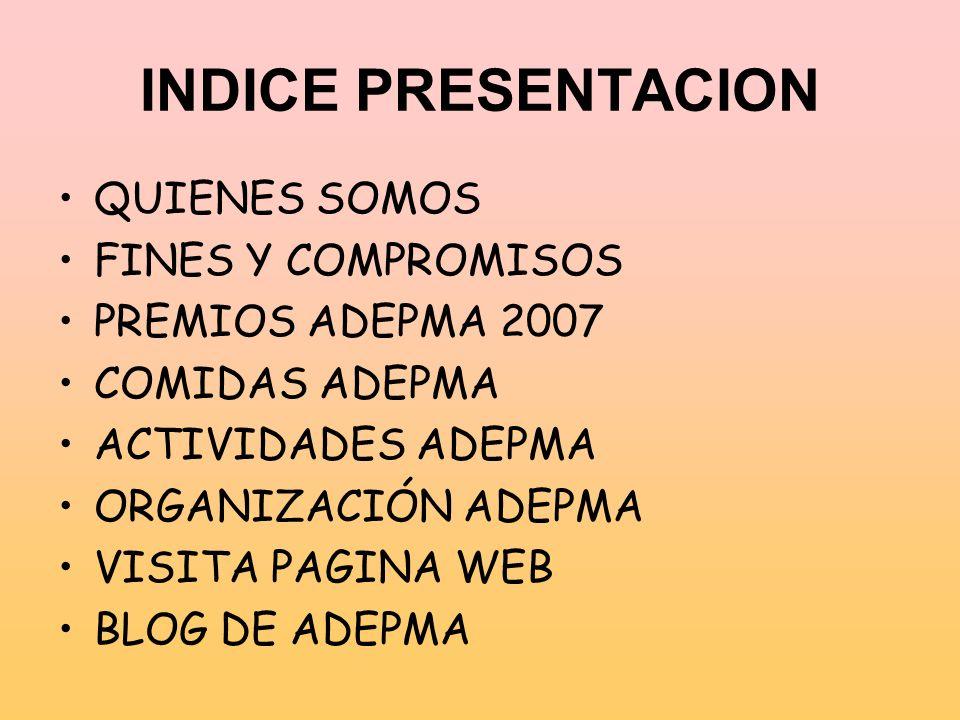 INDICE PRESENTACION QUIENES SOMOS FINES Y COMPROMISOS PREMIOS ADEPMA 2007 COMIDAS ADEPMA ACTIVIDADES ADEPMA ORGANIZACIÓN ADEPMA VISITA PAGINA WEB BLOG