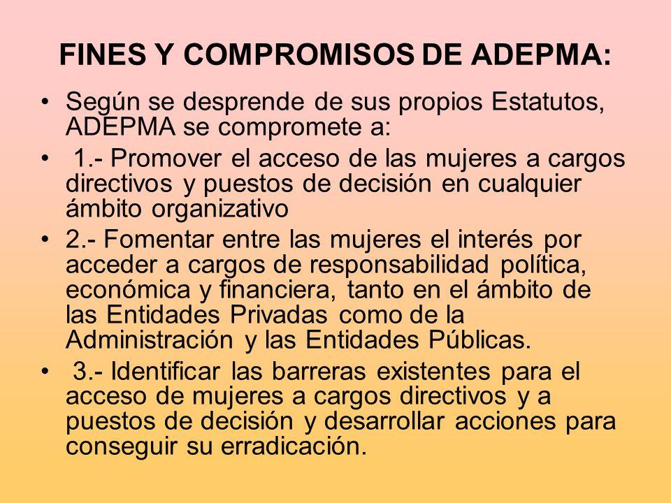 FINES Y COMPROMISOS DE ADEPMA: Según se desprende de sus propios Estatutos, ADEPMA se compromete a: 1.- Promover el acceso de las mujeres a cargos dir