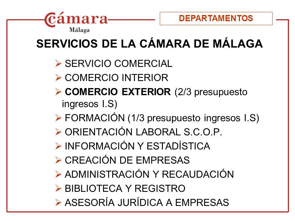 ÁREAS DE ACTUACIÓN DEL DEPARTAMENTO DE COMERCIO EXTERIOR INFORMACIÓN FORMACIÓN PROMOCIÓN DOCUMENTACIÓN DPTO.