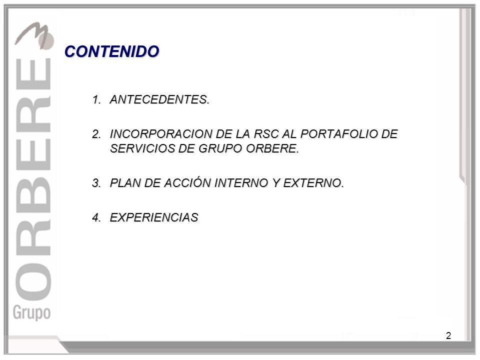 2 CONTENIDO 1.ANTECEDENTES. 2.INCORPORACION DE LA RSC AL PORTAFOLIO DE SERVICIOS DE GRUPO ORBERE.