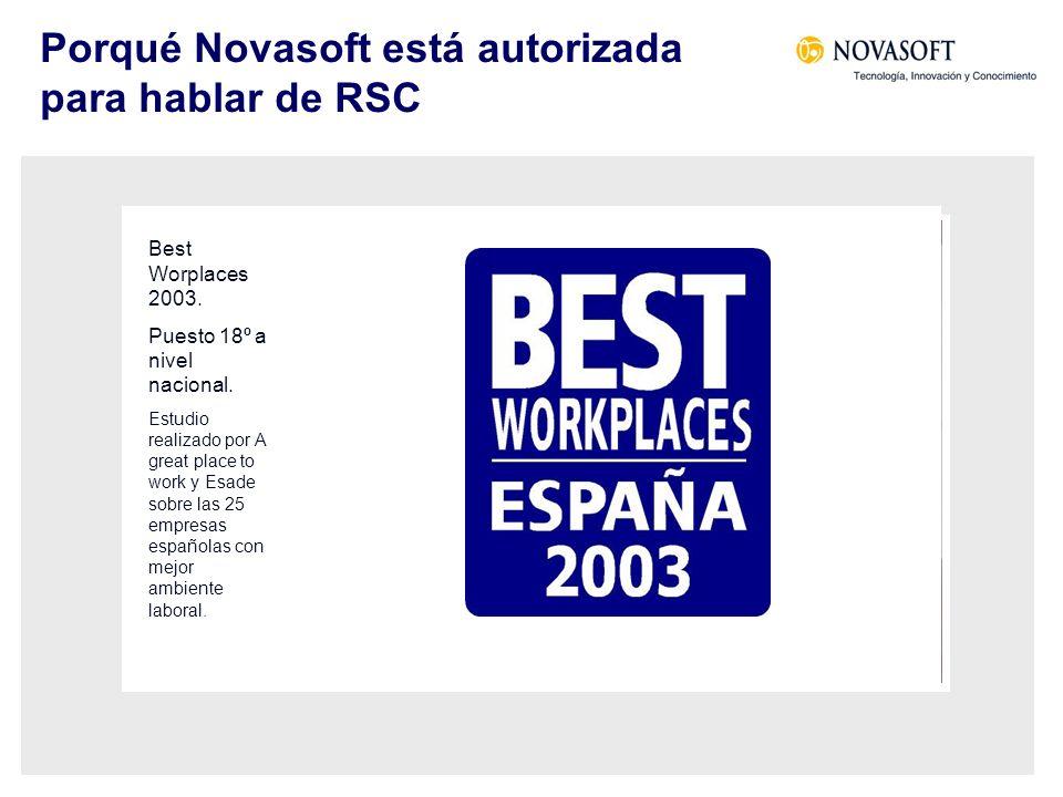 Porqué Novasoft está autorizada para hablar de RSC I Premio Andaluz a la Excelencia Empresarial 2000 Premio al Compromiso Social y a la Creación de Empleo.