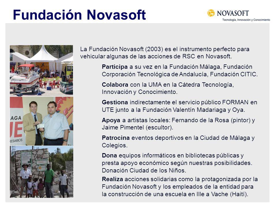 La Fundación Novasoft (2003) es el instrumento perfecto para vehicular algunas de las acciones de RSC en Novasoft. Participa a su vez en la Fundación
