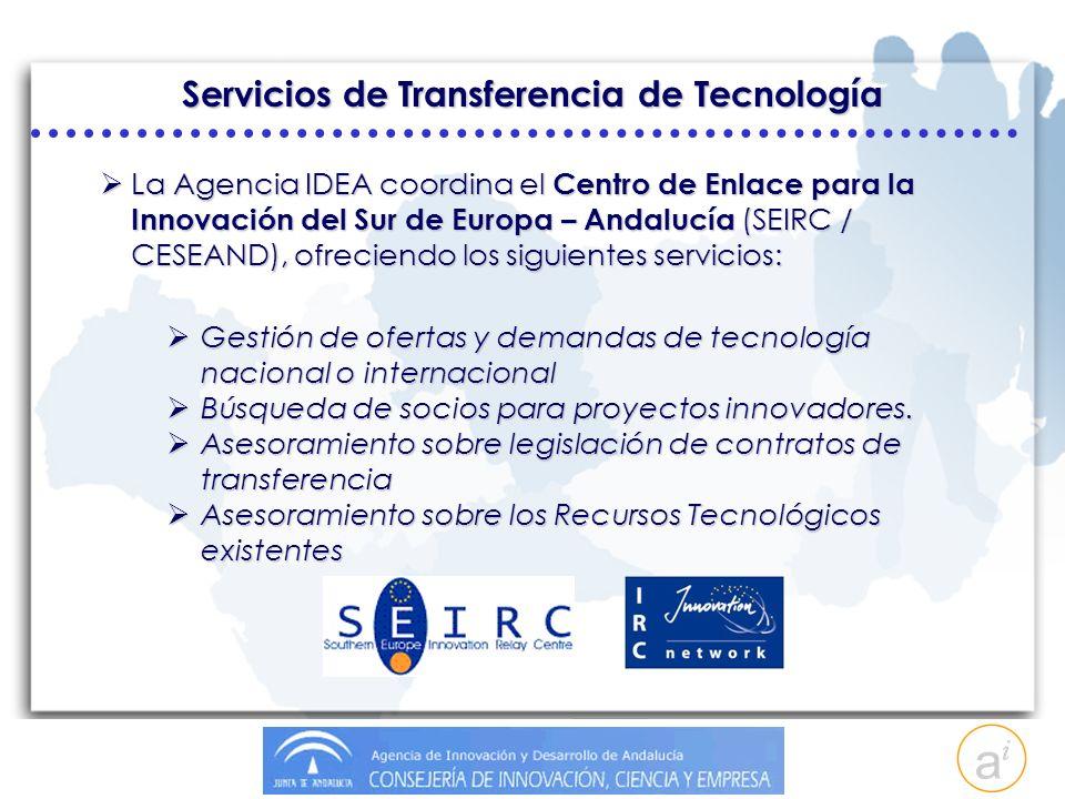 Servicios de Transferencia de Tecnología La Agencia IDEA coordina el Centro de Enlace para la Innovación del Sur de Europa – Andalucía (SEIRC / CESEAND), ofreciendo los siguientes servicios: La Agencia IDEA coordina el Centro de Enlace para la Innovación del Sur de Europa – Andalucía (SEIRC / CESEAND), ofreciendo los siguientes servicios: Gestión de ofertas y demandas de tecnología nacional o internacional Gestión de ofertas y demandas de tecnología nacional o internacional Búsqueda de socios para proyectos innovadores.