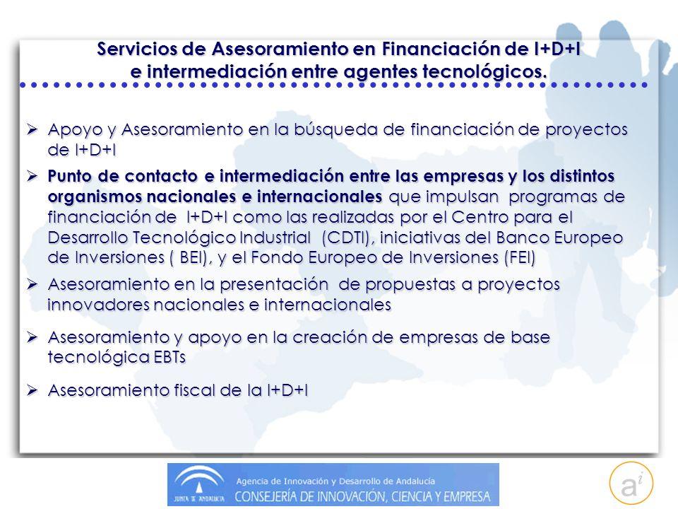 Servicios de Asesoramiento en Financiación de I+D+I e intermediación entre agentes tecnológicos.