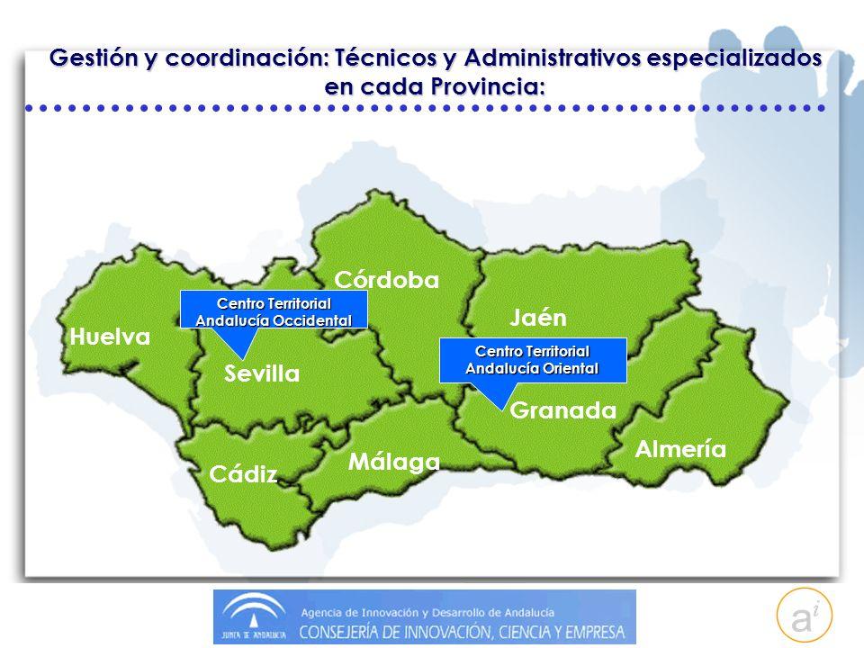 Gestión y coordinación: Técnicos y Administrativos especializados en cada Provincia: Granada Almería Jaén Málaga Córdoba Sevilla Cádiz Huelva Centro Territorial Andalucía Oriental Centro Territorial Andalucía Occidental