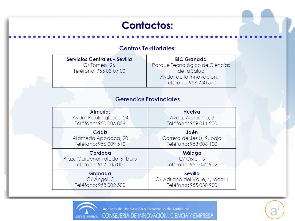 Centros Territoriales: Servicios Centrales – Sevilla C/ Torneo, 26 Teléfono: 955 03 07 00 BIC Granada Parque Tecnológico de Ciencias de la Salud Avda.