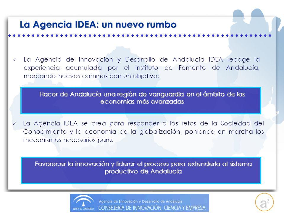 La Agencia IDEA: un nuevo rumbo La Agencia de Innovación y Desarrollo de Andalucía IDEA recoge la experiencia acumulada por el Instituto de Fomento de Andalucía, marcando nuevos caminos con un objetivo: Hacer de Andalucía una región de vanguardia en el ámbito de las economías más avanzadas La Agencia IDEA se crea para responder a los retos de la Sociedad del Conocimiento y la economía de la globalización, poniendo en marcha los mecanismos necesarios para: Favorecer la innovación y liderar el proceso para extenderla al sistema productivo de Andalucía