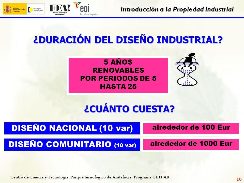 Centro de Ciencia y Tecnología. Parque tecnológico de Andalucía. Programa CETPAR Introducción a la Propiedad Industrial 9 Ejemplo de diseño industrial