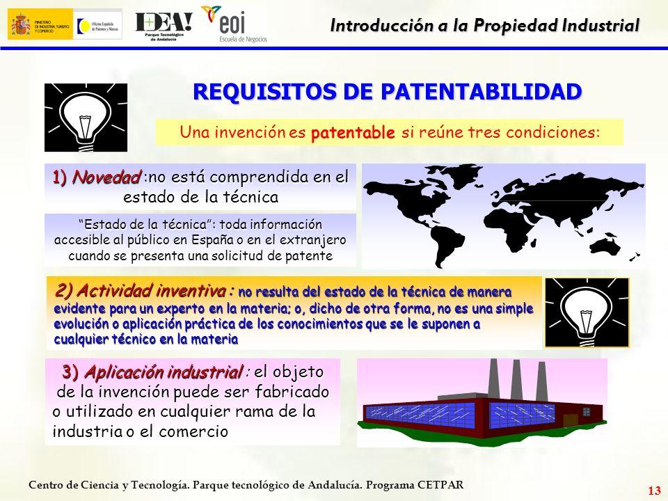 Centro de Ciencia y Tecnología. Parque tecnológico de Andalucía. Programa CETPAR Introducción a la Propiedad Industrial 12 MONOPOLIO Concede un MONOPO