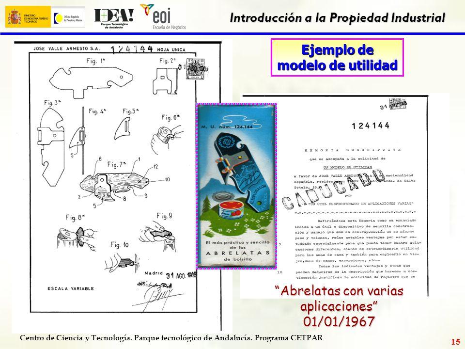 Centro de Ciencia y Tecnología. Parque tecnológico de Andalucía. Programa CETPAR Introducción a la Propiedad Industrial 14 Patente Duración: 20 años (