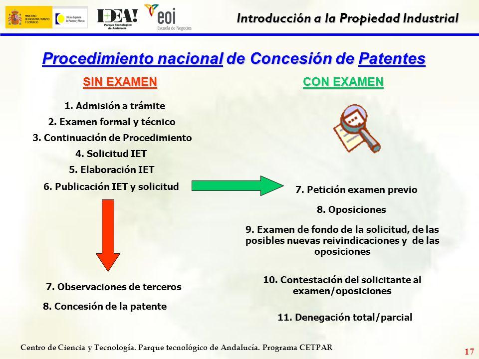 Centro de Ciencia y Tecnología. Parque tecnológico de Andalucía. Programa CETPAR Introducción a la Propiedad Industrial 16 PLAZO PARA EFECTUAR NUEVAS