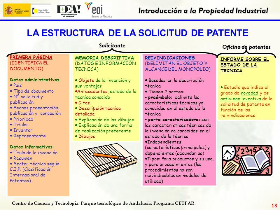 Centro de Ciencia y Tecnología. Parque tecnológico de Andalucía. Programa CETPAR Introducción a la Propiedad Industrial 17 1. Admisión a trámite 7. Ob