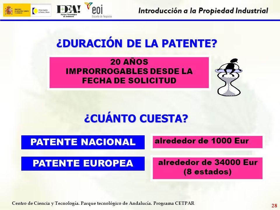 Centro de Ciencia y Tecnología. Parque tecnológico de Andalucía. Programa CETPAR Introducción a la Propiedad Industrial 27 LA VÍA EURO - PCT Ventajas