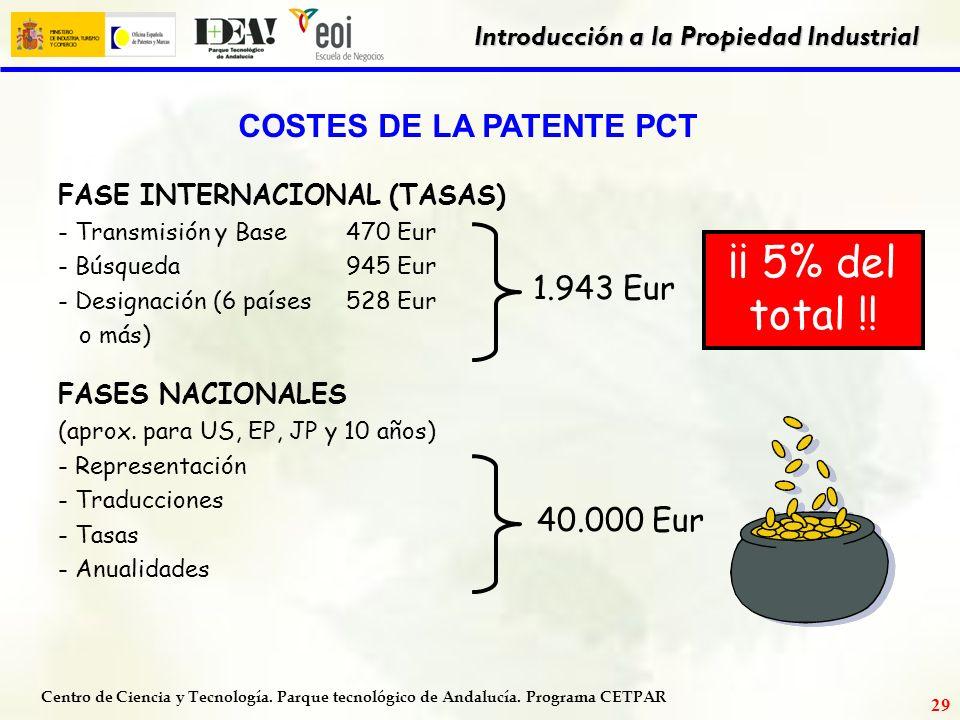 Centro de Ciencia y Tecnología. Parque tecnológico de Andalucía. Programa CETPAR Introducción a la Propiedad Industrial 28 ¿DURACIÓN DE LA PATENTE? 20