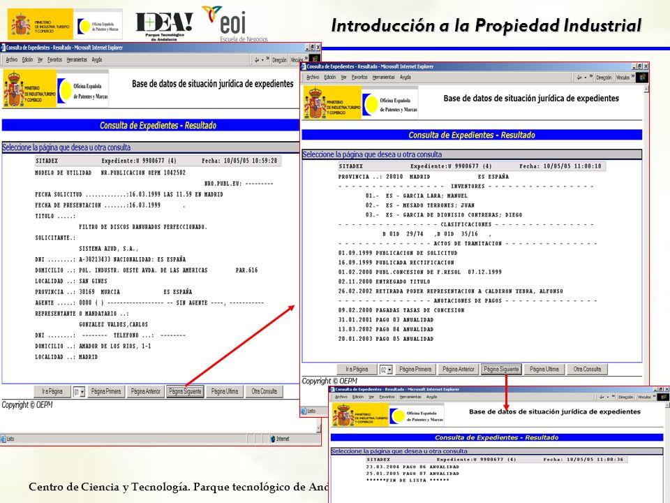Centro de Ciencia y Tecnología. Parque tecnológico de Andalucía. Programa CETPAR Introducción a la Propiedad Industrial 41