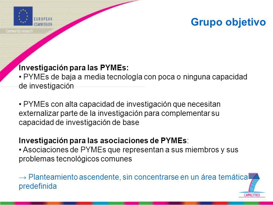 Grupo objetivo Investigación para las PYMEs: PYMEs de baja a media tecnología con poca o ninguna capacidad de investigación PYMEs con alta capacidad d