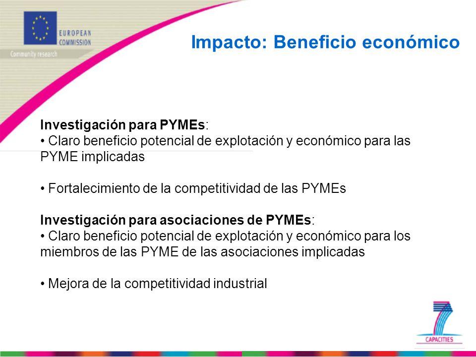Impacto: Beneficio económico Investigación para PYMEs: Claro beneficio potencial de explotación y económico para las PYME implicadas Fortalecimiento d