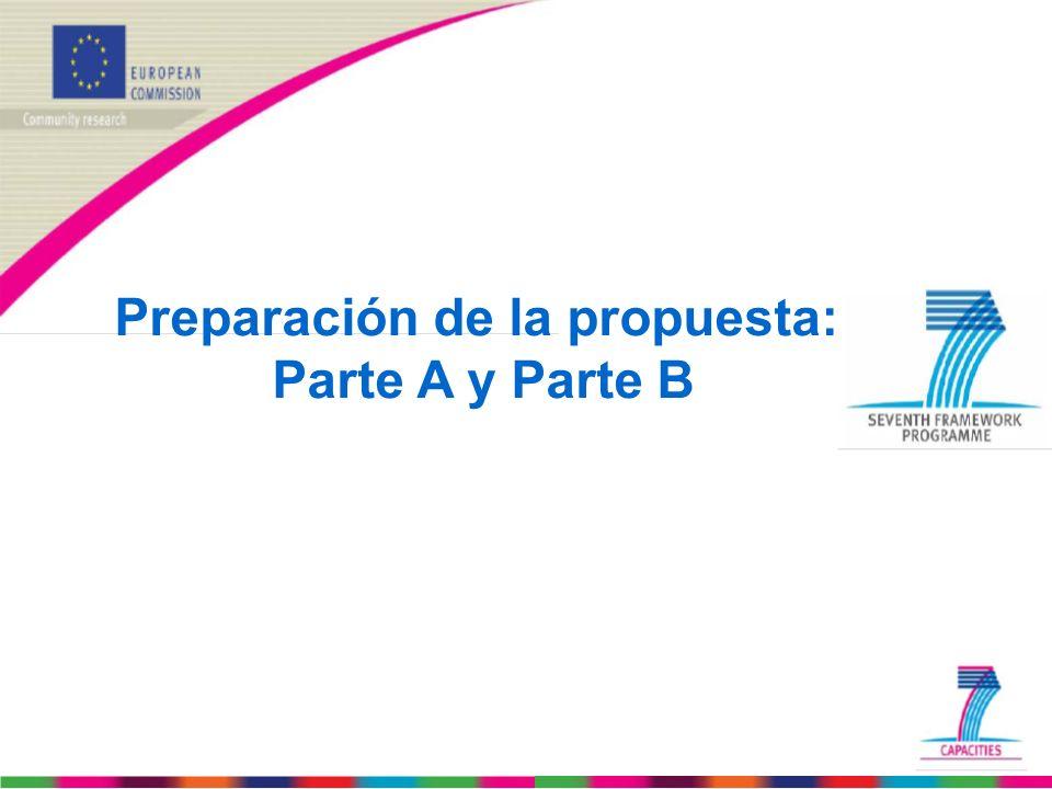 Preparación de la propuesta: Parte A y Parte B
