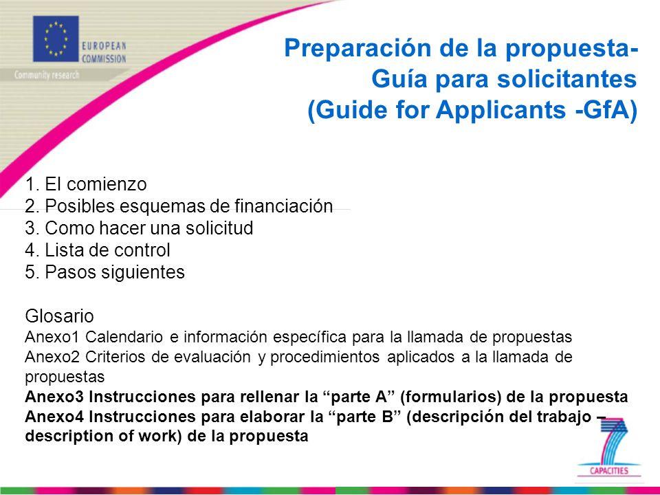 Preparación de la propuesta- Guía para solicitantes (Guide for Applicants -GfA) 1. El comienzo 2. Posibles esquemas de financiación 3. Como hacer una