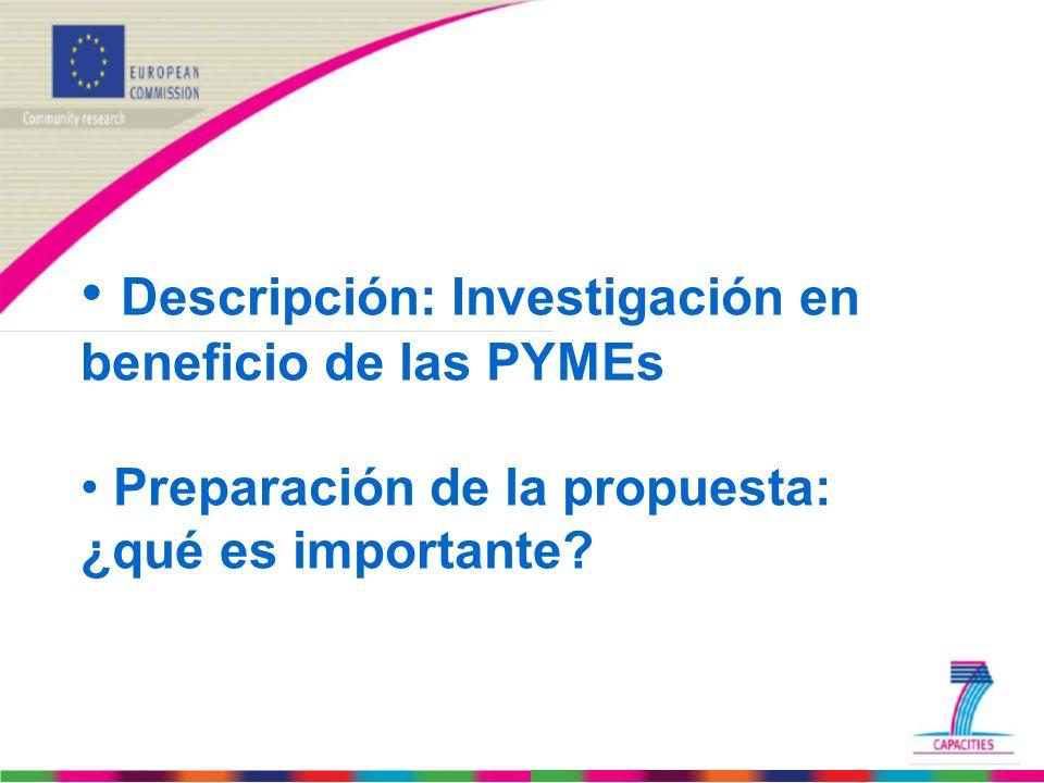 Descripción: Investigación en beneficio de las PYMEs Preparación de la propuesta: ¿qué es importante?