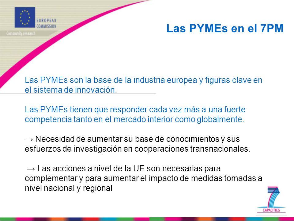 Las PYMEs en el 7PM Las PYMEs son la base de la industria europea y figuras clave en el sistema de innovación. Las PYMEs tienen que responder cada vez