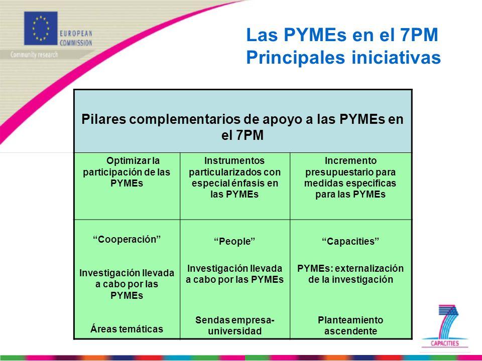 Las PYMEs en el 7PM Principales iniciativas Pilares complementarios de apoyo a las PYMEs en el 7PM Optimizar la participación de las PYMEs Instrumento