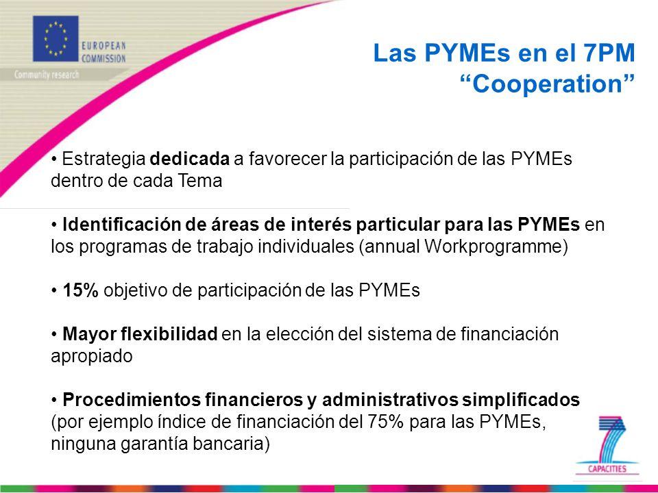Las PYMEs en el 7PM Cooperation Estrategia dedicada a favorecer la participación de las PYMEs dentro de cada Tema Identificación de áreas de interés p