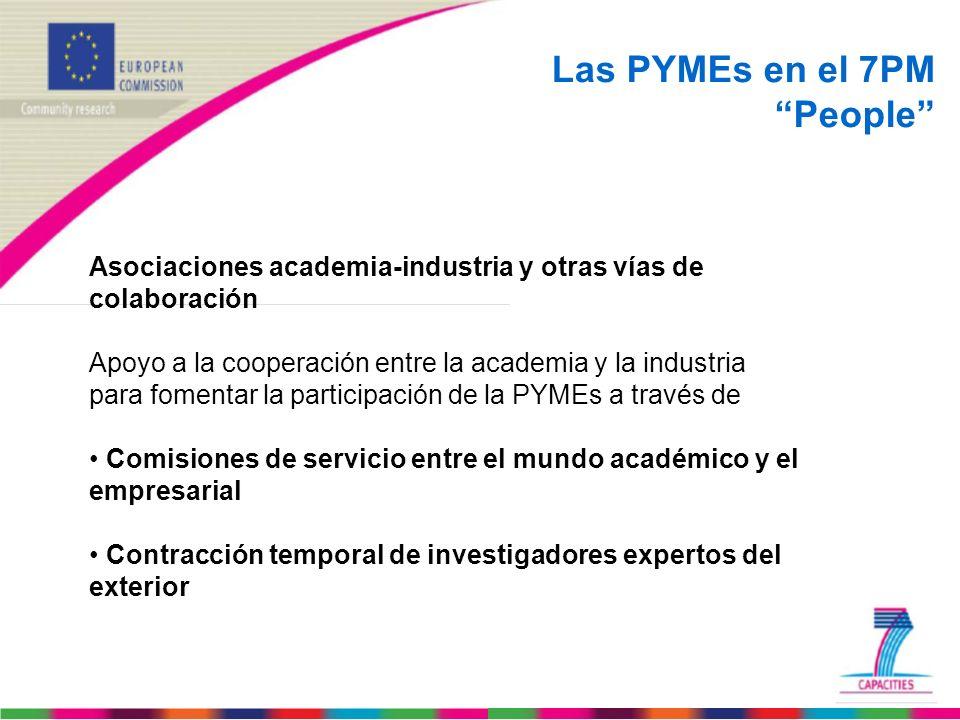 Las PYMEs en el 7PM People Asociaciones academia-industria y otras vías de colaboración Apoyo a la cooperación entre la academia y la industria para f