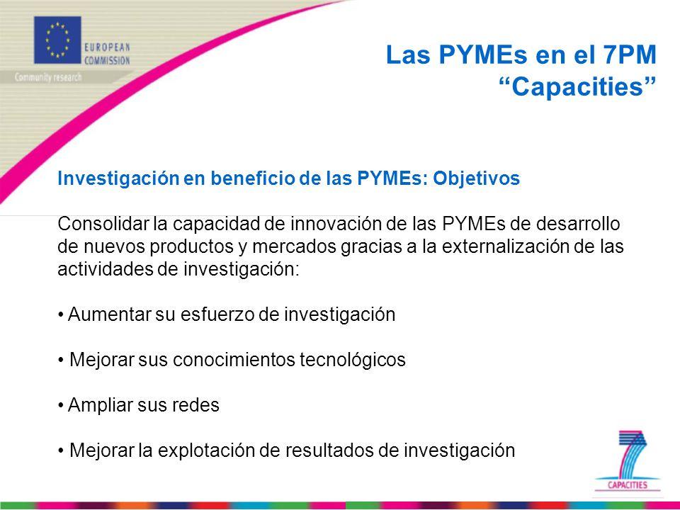 Las PYMEs en el 7PM Capacities Investigación en beneficio de las PYMEs: Objetivos Consolidar la capacidad de innovación de las PYMEs de desarrollo de