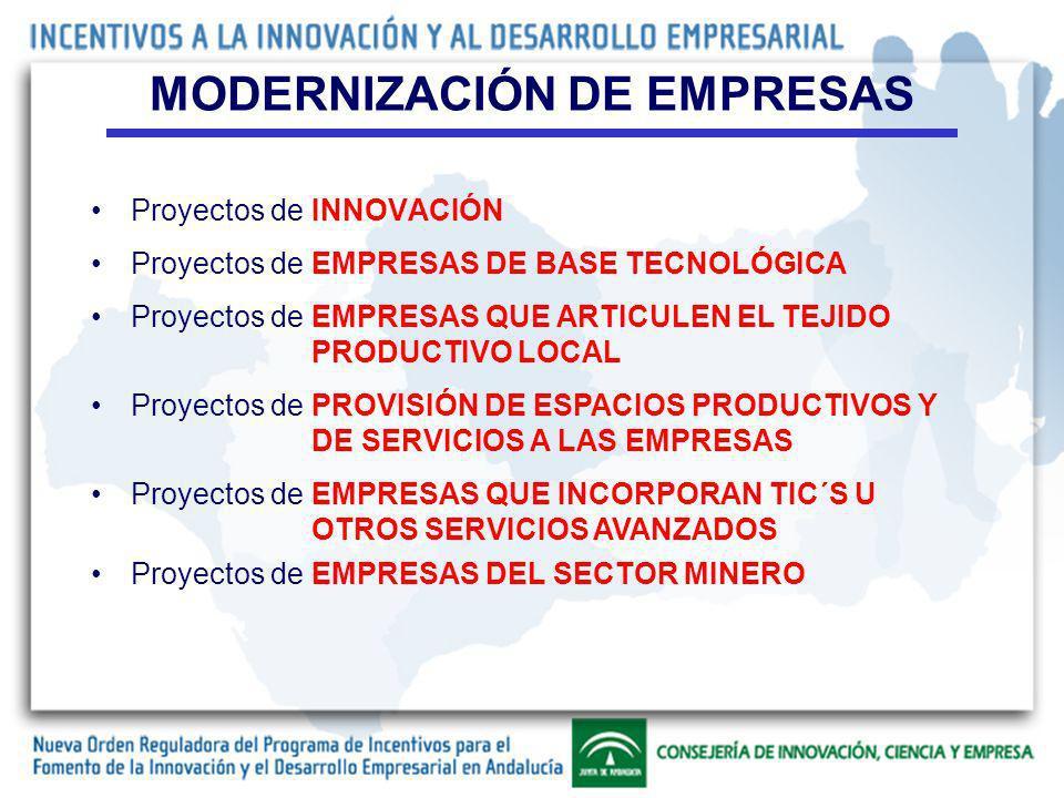 Proyectos de INNOVACIÓN MODERNIZACIÓN DE EMPRESAS Proyectos de EMPRESAS DE BASE TECNOLÓGICA Proyectos de EMPRESAS QUE ARTICULEN EL TEJIDO PRODUCTIVO LOCAL Proyectos de PROVISIÓN DE ESPACIOS PRODUCTIVOS Y DE SERVICIOS A LAS EMPRESAS Proyectos de EMPRESAS QUE INCORPORAN TIC´S U OTROS SERVICIOS AVANZADOS Proyectos de EMPRESAS DEL SECTOR MINERO