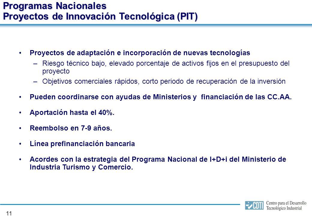 10 Programas Nacionales Proyectos de Desarrollo Tecnológico (PDT) Proyectos de investigación precompetitiva y competitiva: –Riesgo técnico medio y/o alto –Desarrollo, o actualización, de nuevos procesos y/o productos de cara a su comercialización Pueden coordinarse con ayudas de Ministerios y financiación de las CC.AA.