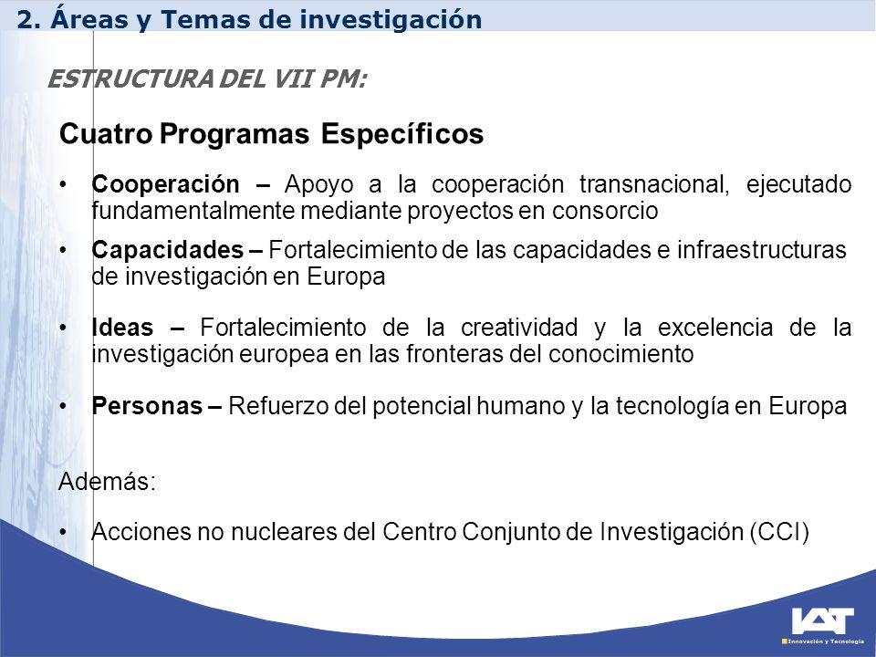 ESTRUCTURA DEL VII PM: Cuatro Programas Específicos Cooperación – Apoyo a la cooperación transnacional, ejecutado fundamentalmente mediante proyectos