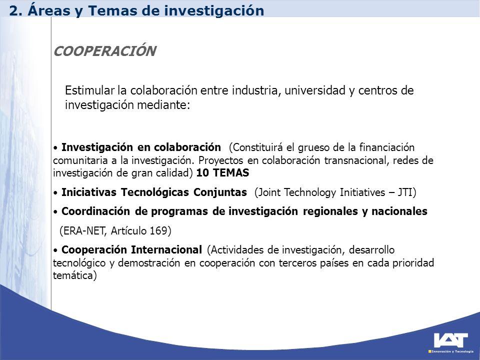 COOPERACIÓN Investigación en colaboración (Constituirá el grueso de la financiación comunitaria a la investigación. Proyectos en colaboración transnac