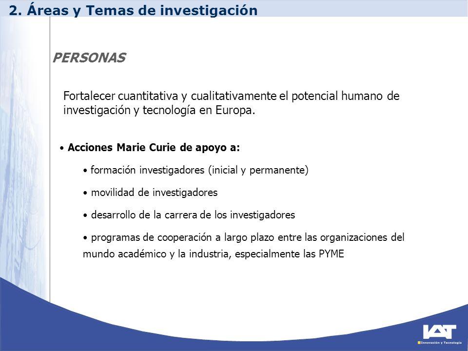 PERSONAS Acciones Marie Curie de apoyo a: formación investigadores (inicial y permanente) movilidad de investigadores desarrollo de la carrera de los