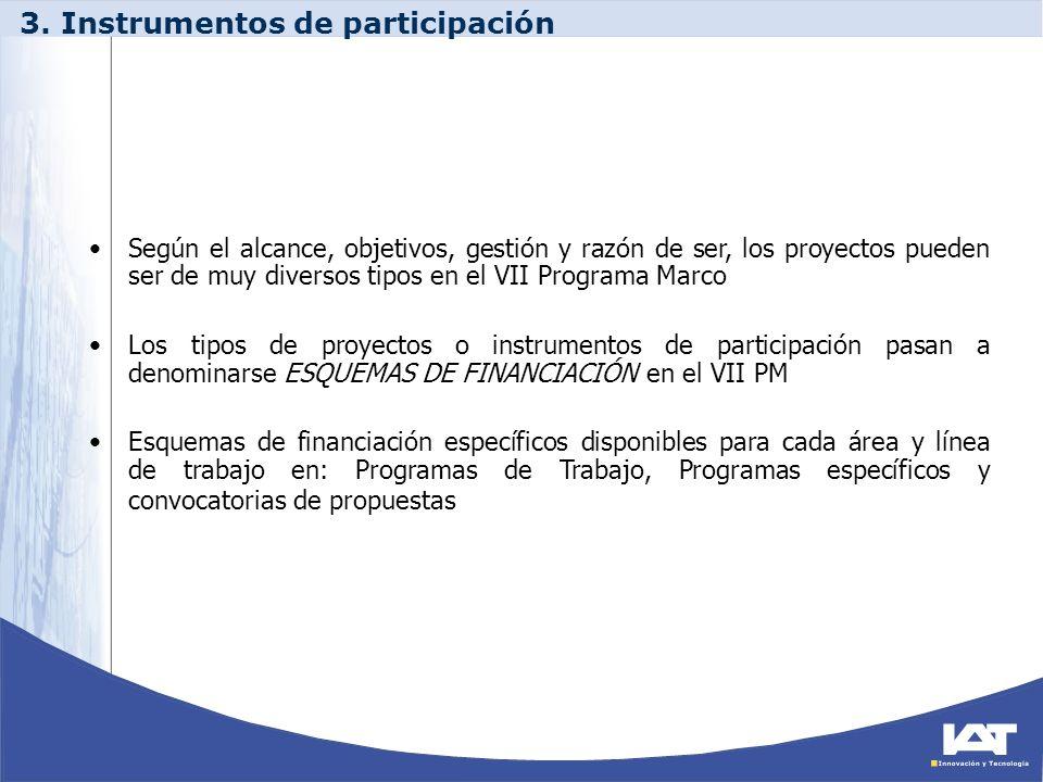 3. Instrumentos de participación Según el alcance, objetivos, gestión y razón de ser, los proyectos pueden ser de muy diversos tipos en el VII Program