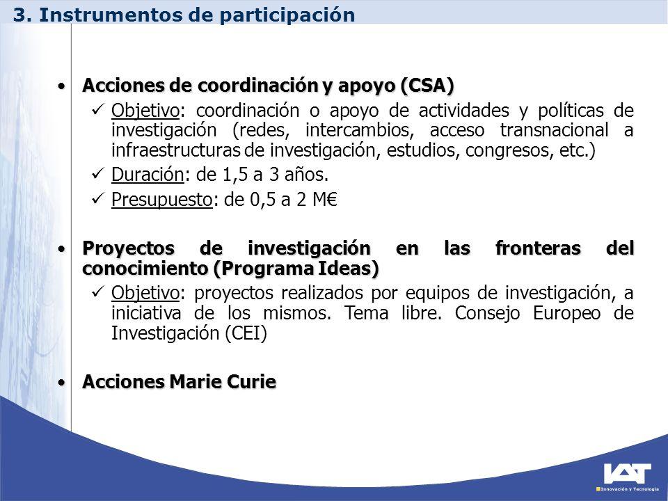 Acciones de coordinación y apoyo (CSA)Acciones de coordinación y apoyo (CSA) Objetivo: coordinación o apoyo de actividades y políticas de investigació