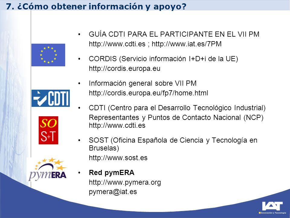 GUÍA CDTI PARA EL PARTICIPANTE EN EL VII PM http://www.cdti.es ; http://www.iat.es/7PM CORDIS (Servicio información I+D+i de la UE) http://cordis.euro