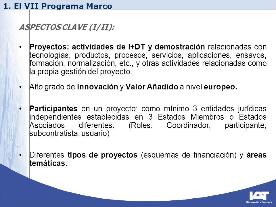 Proyectos: actividades de I+DT y demostración relacionadas con tecnologías, productos, procesos, servicios, aplicaciones, ensayos, formación, normaliz