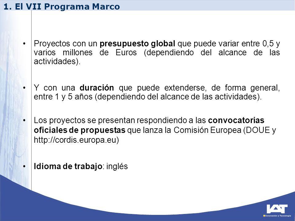 Proyectos con un presupuesto global que puede variar entre 0,5 y varios millones de Euros (dependiendo del alcance de las actividades). Y con una dura