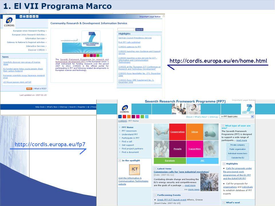 1. El VII Programa Marco http://cordis.europa.eu/en/home.html http://cordis.europa.eu/fp7