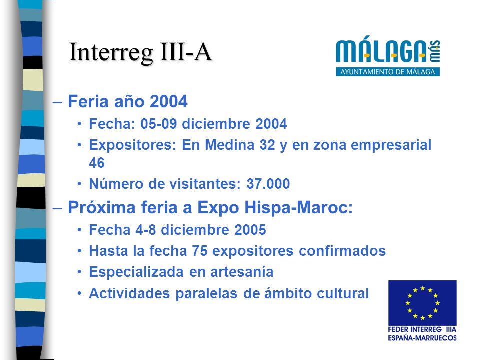 –Feria año 2004 Fecha: 05-09 diciembre 2004 Expositores: En Medina 32 y en zona empresarial 46 Número de visitantes: 37.000 –Próxima feria a Expo Hisp